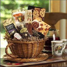 New Coffee Gift Baskets Coffee Gift Baskets, Mother's Day Gift Baskets, Raffle Baskets, Gift Hampers, Coffee Lover Gifts, Coffee Lovers, Basket Gift, Leaving Gifts, Auction Baskets