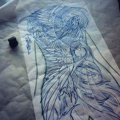 "357 lượt thích, 15 bình luận - CLINT DANROTH (@cdanroth) trên Instagram: ""Working on another #phoenix #backpiece for this week. #japanesetattoodesigns #illustration #sketch…"""