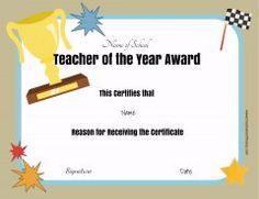 Teacher of the year award