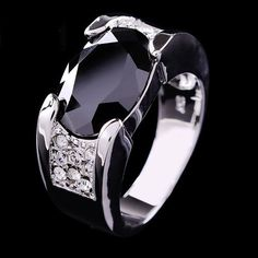 Designs Of Black Sapphire Rings With Diamond For Men