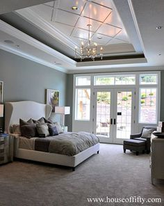 tray ceiling detail [Isabella & Max Rooms: Street of Dreams Portland Style - House House Ceiling Design, Ceiling Design Living Room, Bedroom False Ceiling Design, Home Ceiling, Living Room Designs, House Design, Ceiling Ideas, Gypsum Ceiling Design, Home Bedroom