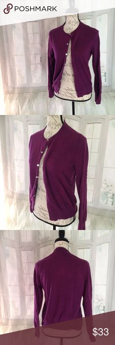 """Land's End Women's Small Purple Career Cardigan Fits a 6-8. Cotton, nylon, and spandex. Machine wash. Crew cardigan, long sleeves. 22.5"""" long, 19.5"""" bust, 23"""" sleeve Lands' End Sweaters Cardigans"""