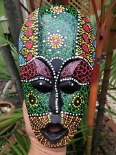 Mask Tribal Dot Aboriginal Hand Carved Painted Art Face African Home Decor Wall