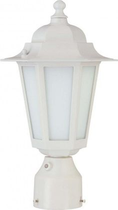 Nuvo Lighting 60/2211 One Light Cornerstone Post Lantern with Frosted Glass and Photocell, White by Nuvo. $53.95. From the Manufacturer                Energy Star Rated White Conerstone Post Lantern with Frosted Glass and Photocell Width 7-Inch Height 14¼-Inch Includes 1- 13w Mini Spiral.                                    Product Description                60/2211 Features: -One light post lantern.-Satin white glass shade.-Transitional style.-For outdoor use. ...
