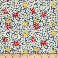 Designed by Erin Turner for Penny Rose, this cotton print is perfect for quilting, apparel and home decor accents.  Colors include off white, yellow, blue and red.