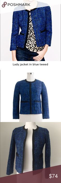 J Crew Lady jacket blazer in blue tweed cloche No trades, no low ball offers. Great condition tweed blazer from J Crew! Makes a bold, sophisticated statement. Lined and features hook-and-eye closures in the front. Functional pockets. Blogger favorite! J. Crew Jackets & Coats Blazers