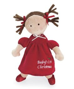 Delight little darlings with this precious plush doll that celebrates Christmas with charming style. With silky ribbons and an adorable embroidered face, this bitty buddy will quickly become a best friend and beautiful addition to the bedroom.