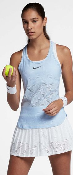 Add a beautiful, lightweight tennis tank to your wardrobe and play with comfort and style. The Nike Maria Sharapova tennis tank is a stretchy, knit tank with a racerback style for easy movement and mesh details for maximum comfort and ventilation. Paired with the white Nike Maria skirt and white Nike Core Stealth wristbands and you are ready for any tennis match. Shop more Nike women's apparel at MidwestSports.com.