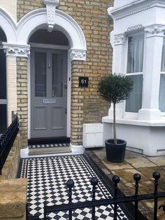 victorian front garden design london - All About Victorian Front Garden, Victorian Front Doors, Grey Front Doors, Victorian Terrace, Victorian Homes, Garden Design London, London Garden, Victorian Mosaic Tile, Terrace Tiles