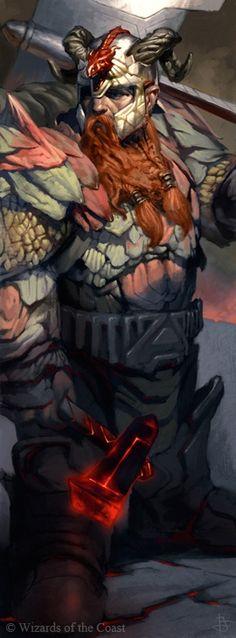 dwarf, axe, hammer