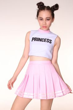 please allow package to arrive within 5 weeks from the day you place an order. Glitters For Dinner Original Team Princess Cheerleading Set Amazing . Harajuku Mode, Harajuku Fashion, Kawaii Fashion, Teen Fashion, Fashion Outfits, Cheerleader Rock, Cheerleader Costume, Cheerleading Outfits, My Baby Girl