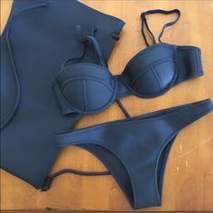 TRIANGL SWIM: Ruby Tokyo Lights Top, Bottom & bag Size Small Top. Size Xsmall. Authentic Triangl Swimwear. Dark Navy Blue color (looks black) triangl swimwear Swim Bikinis
