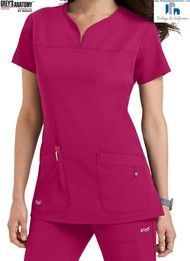Scrubs and Beyond Greys Anatomy Signature Notch Neck 2 Pocket Scrub Tops In Poppy size Small Dental Uniforms, Work Uniforms, Dental Scrubs, Medical Scrubs, Nursing Scrubs, Cute Scrubs, Scrubs Uniform, Greys Anatomy Scrubs, 4 Way Stretch Fabric