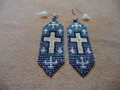 Native American style loom beaded cross earrings in by DebsVisions