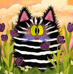 Zebra Kitty Cranky Cat CollectionTM by CrankyCats on Etsy By Cindy Schmidt I Love Cats, Crazy Cats, Cute Cats, Image Chat, Cat Sketch, Photo Chat, Cat Quilt, Cat Colors, Gif Animé