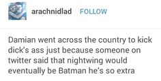 Damian Wayne, Dick Grayson, Batman, Batdad, Robins, Nightwing, Tumblr, DC Comics, Batfam, Batfamily