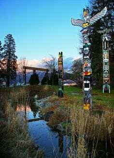 Totem Poles at Vancouver Stanley Park, British Columbia, Canada