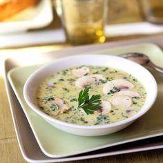 SOUPE DE CHAMPIGNONS DE PARIS (Pour 4 P : 500 g de champignons de Paris • 1/2 bouquet de persil plat • 20 cl de crème fraîche épaisse • 1 gros oignon • 15 g de beurre • 1 cube de bouillon de volaille • 1 c à c de fécule de pomme de terre • 1 c à c de curry en poudre • sel, poivre)