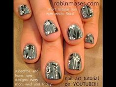 GRAY with WHITE FLOWERS on SHORT NATURAL NAILS: robin moses nail art design tutorial