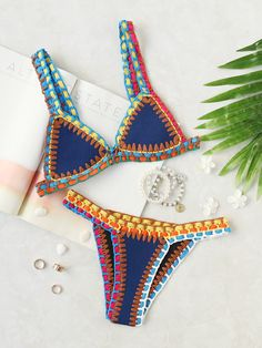 Crochet Trim Blue Bikini Set Mobile Site