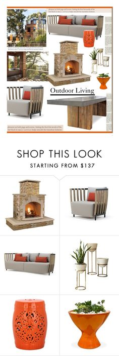 """""""Outdoor Living'"""" by dianefantasy ❤ liked on Polyvore featuring interior, interiors, interior design, home, home decor, interior decorating, GAS Jeans, Ethimo, Global Views and Safavieh"""