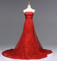 davids bridal all red wedding dress | Wedding Dress, Strapless White Red Ivory Lace Mermaid /Sheath Custom ...