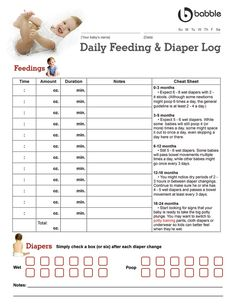 Printable Diaper Feeding Form | Day in the Life: Daily Log for ...