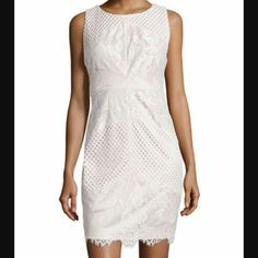 JAX Lace Illusion Cocktail Dress Ivory JAX mixed lace sleeveless dress. Ivory and white. Fitted silhouette. Polyester and spandex. jax Dresses Mini