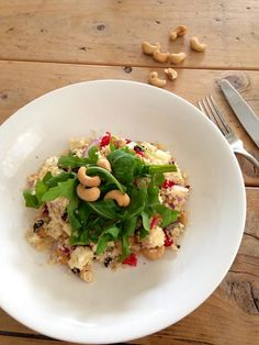 Couscous salade. Healthy Recipes, Healthy Meals, Healthy Food, Lunches, Quinoa, Feta, Rommel, Risotto, Side Dishes