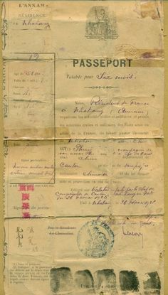 Indochine ANNAM Passport 1925. Extremely Rare