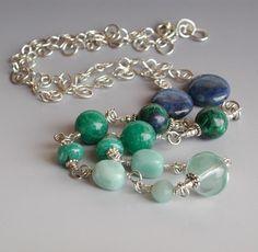 Blue Green Gemstone Necklace Wire Wrapped, lapis, amazonite, azurite   PebblesatmyFeet - Jewelry on ArtFire