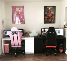 gamer room His and Hers Gamer Game Office Room Lan Party Computer Peach Mario Deadpool Gamer Setup, Gaming Room Setup, Pc Setup, Laptop Gaming Setup, Best Gaming Setup, Nerd Room, Gamer Room, Pc Gamer, Girl Gamer
