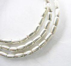 60 of Karen Hill Tribe Silver Wheat Beads 2x3.5 mm. :ka1928