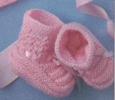 Sapatinho de bebê em tricô - rosa e fofinho   Eu que Fiz - Vovó Baisa                                                                                                                                                                                 Mais