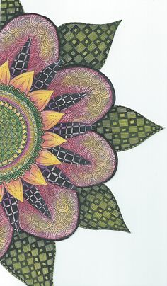 Zentangle Inspired Art.  Pigma Micron Pen and Derwent Water Color Pencils on Strathmore Multi Media Paper