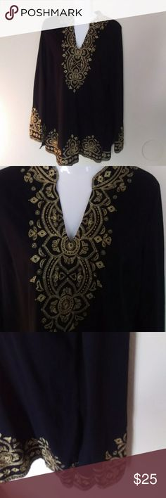 Inc international concepts black and gold blouse Inc international concepts black and gold blouse size large great condition barely worn gold designs throughout about 29 inches long and flowy INC International Concepts Tops Blouses