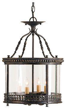 Gardner Wrought Iron French Country Ceiling Lantern Pendant Lamp transitional-pendant-lighting