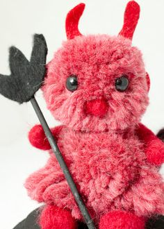 My latest creation Woolen Pom Pom Halloween Devil in Red by innercreatures
