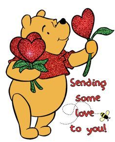 Winnie The Pooh, Glitter, Bee, Hearts - Sending Love image Winnie The Pooh Pictures, Cute Winnie The Pooh, Winne The Pooh, Winnie The Pooh Quotes, Hugs And Kisses Quotes, Hug Quotes, Eeyore, Tigger, Sending Love And Light