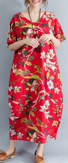 New-red-linen-dress-oversized-floral-cotton-maxi-dress-Elegant-short-sleeve-gown1