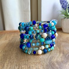 Stunning Cold Colours Memory Wire Bracelet, Boho Style Layered Bracelet, Turquoise, Royal blue, Bohemian Style Bracelet, Bohemian Jewellery