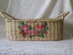 Поделка изделие Плетение соломенный туесок Бумага газетная Трубочки бумажные фото 1