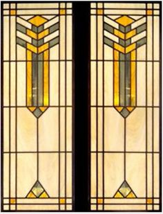 Art Deco Frank Lloyd Wright stained glass window design. Perfect for a stained glass quilt.