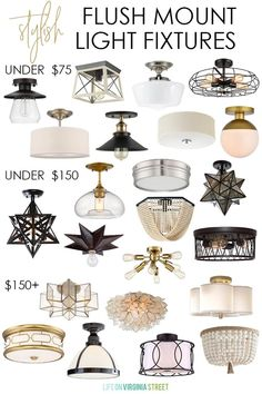 The best stylish flush mount light fixtures that fit any budget! Loving all of these different light fixtures. Hallway Lighting, Home Lighting, Lights For Hallway, Closet Lighting, Ceiling Light Fixtures, Ceiling Lights, Living Room Light Fixtures, Chandeliers, Faux Olive Tree