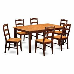 East West Furniture HENL7-BRN-W 7-Piece Dining Table Set  sc 1 st  Pinterest & Best Choice Products 5-Piece Rectangle Faux Marble Dining Table Set ...