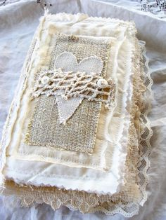 Handmade Fabric and Lace Journal - Book of Love