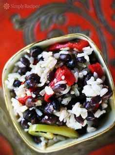 Easy Black Beans and Rice ~ Quick and easy black beans and rice with onion, bell pepper, garlic, Tabasco, oregano, and white rice. ~ SimplyRecipes.com