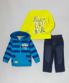 Take a look at this Blue 'Champs' Zip-Up Hoodie Set - Infant by Kids Headquarters on #zulily today!