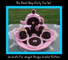 The Donut Shop Party Tea Set. Crochet Pattern