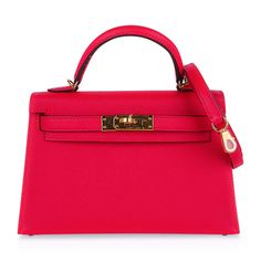 Guaranteed authentic Hermes Kelly 20 Mini Sellier bag featured in vividpink Rose Extreme.Featured in Epsomleather... Hermes Kelly Bag, Hermes Bags, Luxury Purses, Classic Handbags, Vuitton Bag, Louis Vuitton, Bag Sale, Handbag Accessories, Bags